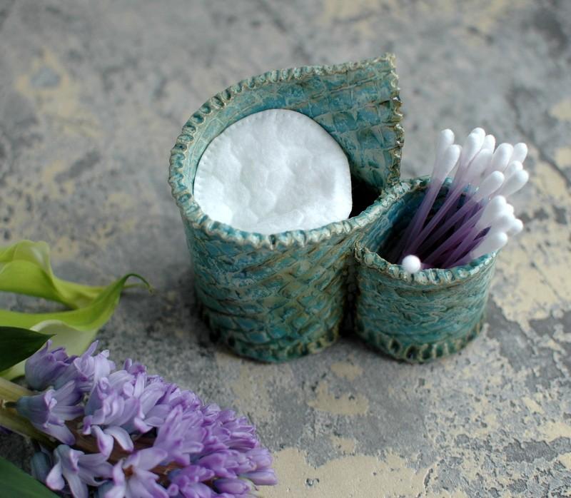 картинка Керамическая подставка для ватных палочек и дисков - DishWishes.Ru