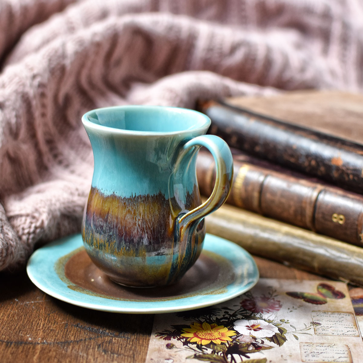 "картинка Керамическая кофейная пара ""Бирюза и шоколад"" - DishWishes.Ru"