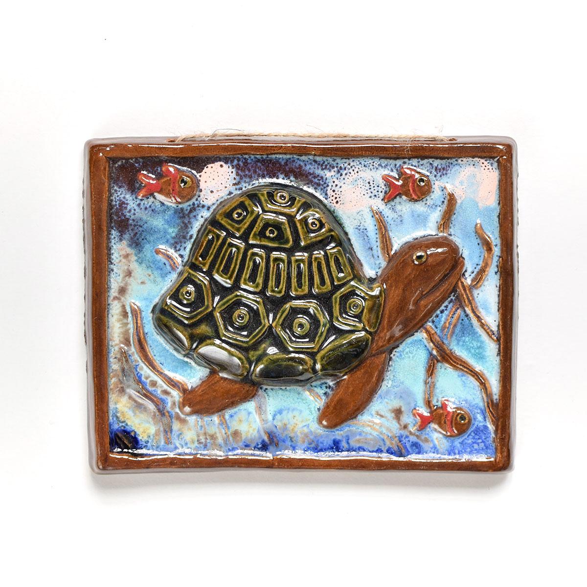 """картинка Керамический изразец """"Зеленая черепаха"""" - DishWishes.Ru"""