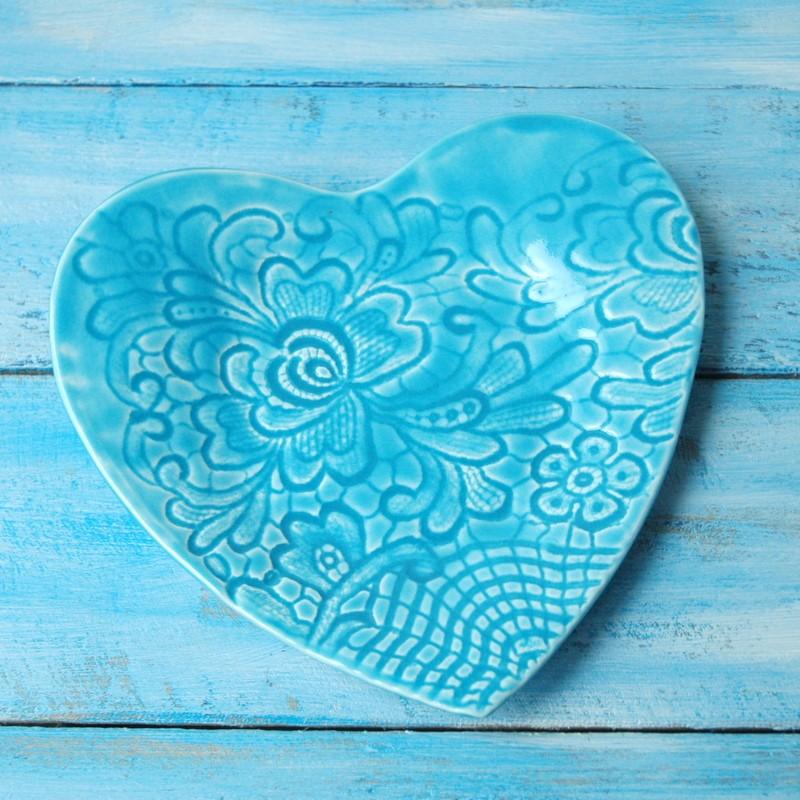 "картинка Тарелка-сердце ""Голубое кружево"" - DishWishes.Ru"