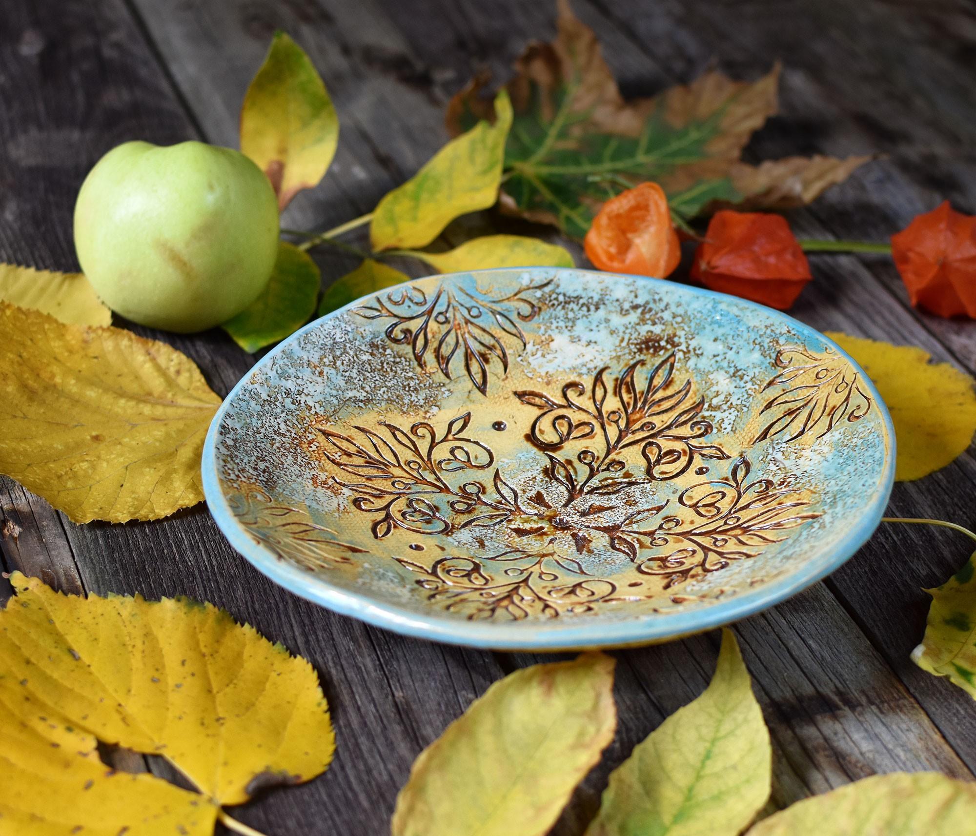 """картинка Керамическая тарелка """"Осенний вальс"""" - DishWishes.Ru"""