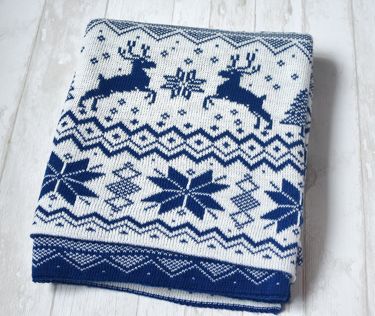 "картинка Вязаный плед ""Новогодний синий"" - DishWishes.Ru"