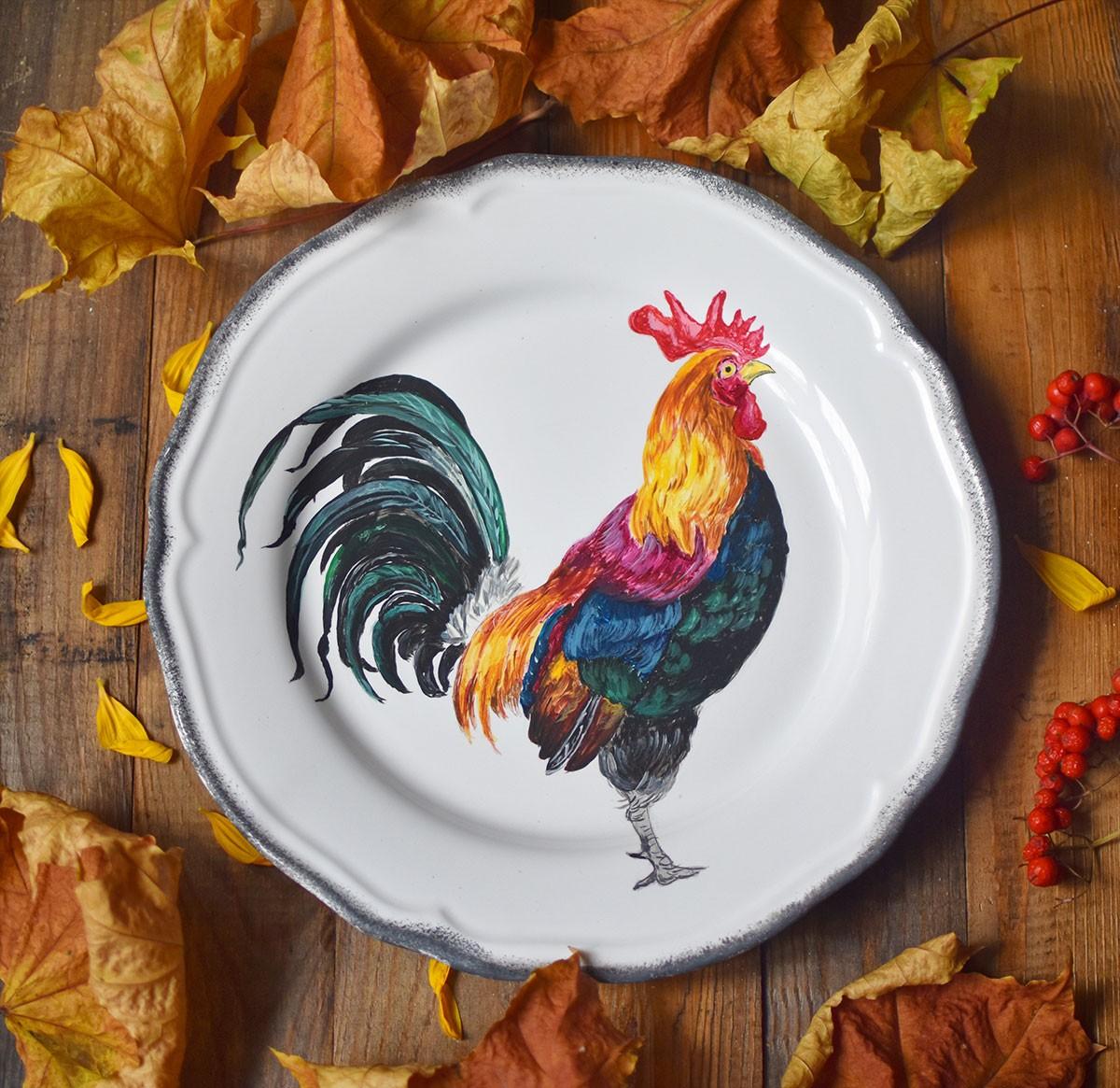 """картинка Декоративная тарелка с авторской росписью """"Петух"""" - DishWishes.Ru"""