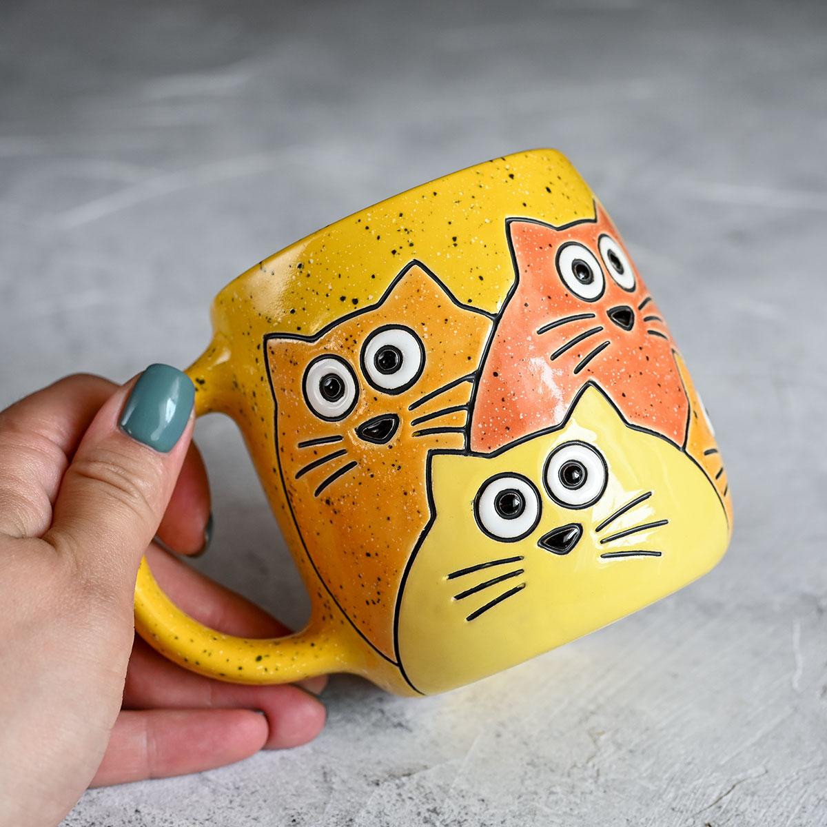"""картинка Кружка """"Котики"""" большая желтая - DishWishes.Ru"""