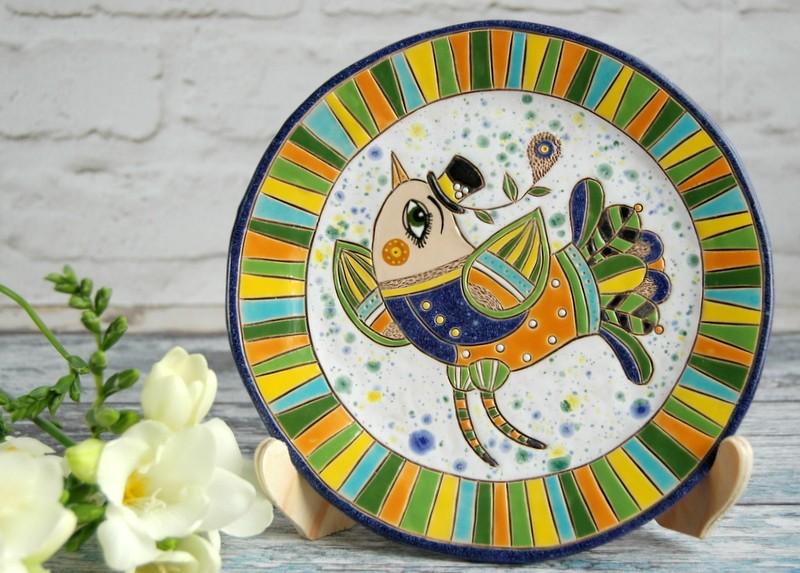 """картинка Керамическая тарелка """"Птицы в цветах"""" - DishWishes.Ru"""