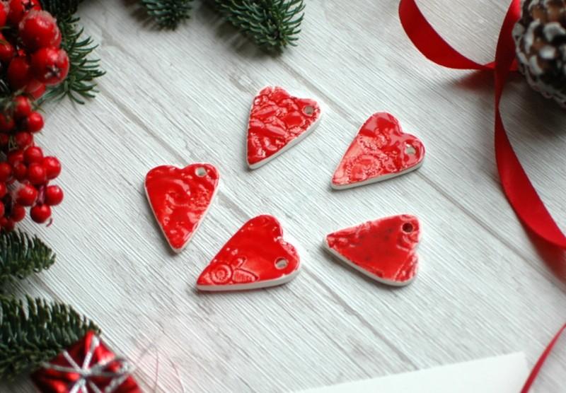 """картинка Керамическая подвеска """"Красное сердце"""" - DishWishes.Ru"""