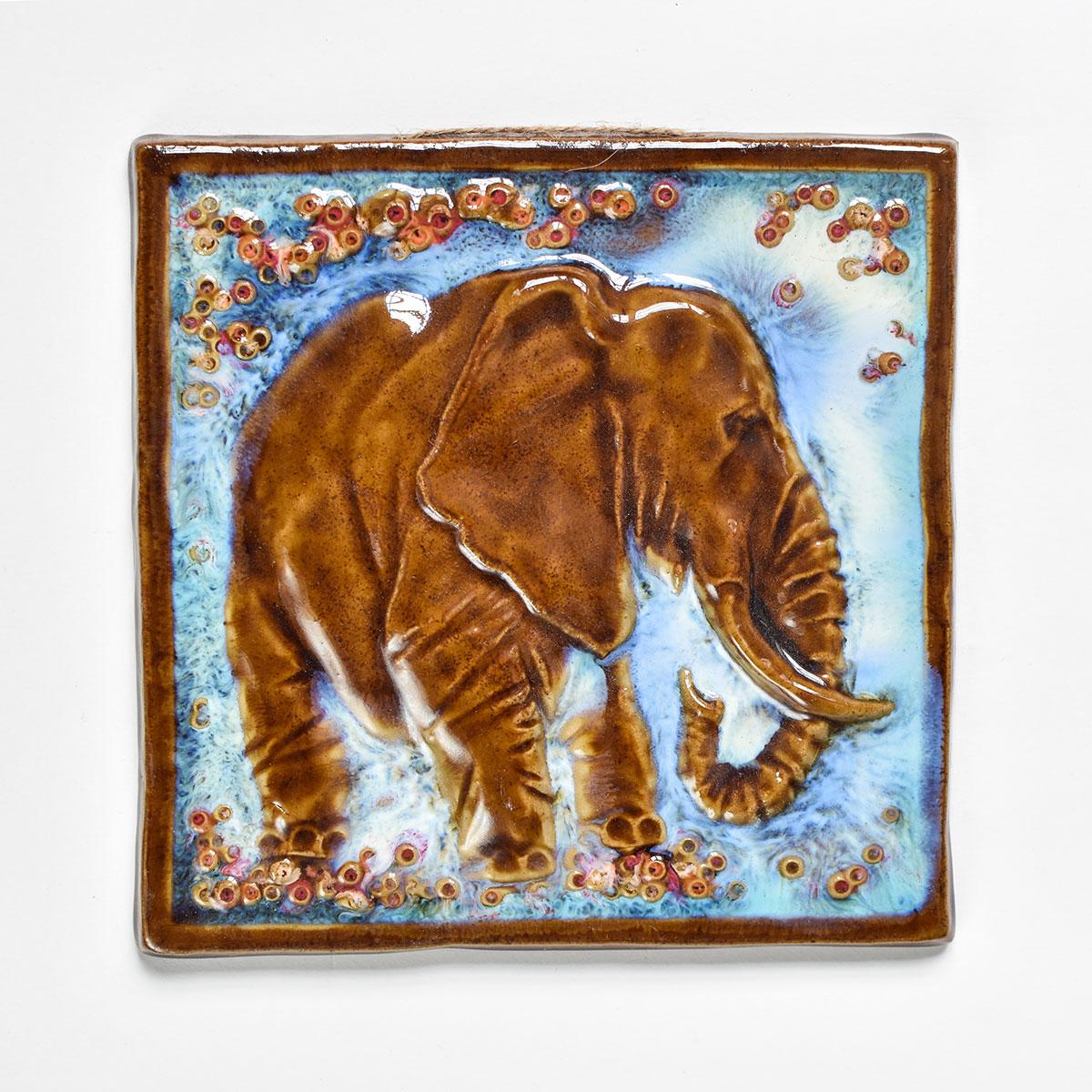 """картинка Изразец ручной работы """"Слон"""" большой голубой - DishWishes.Ru"""