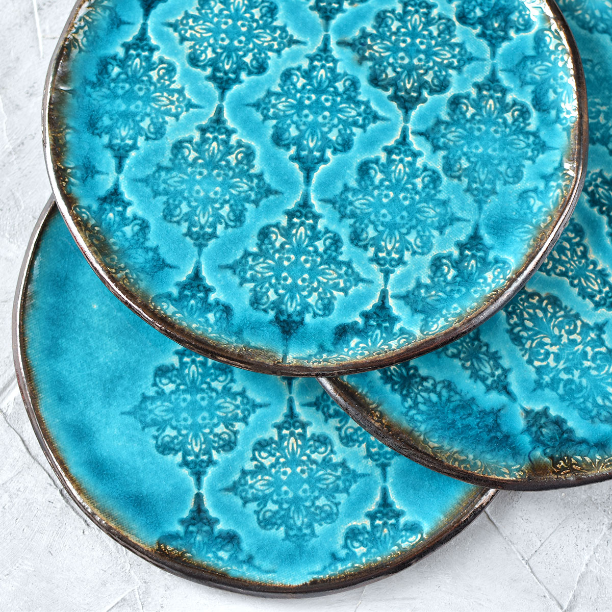 картинка Бирюзовая тарелка с узорами 2 - DishWishes.Ru