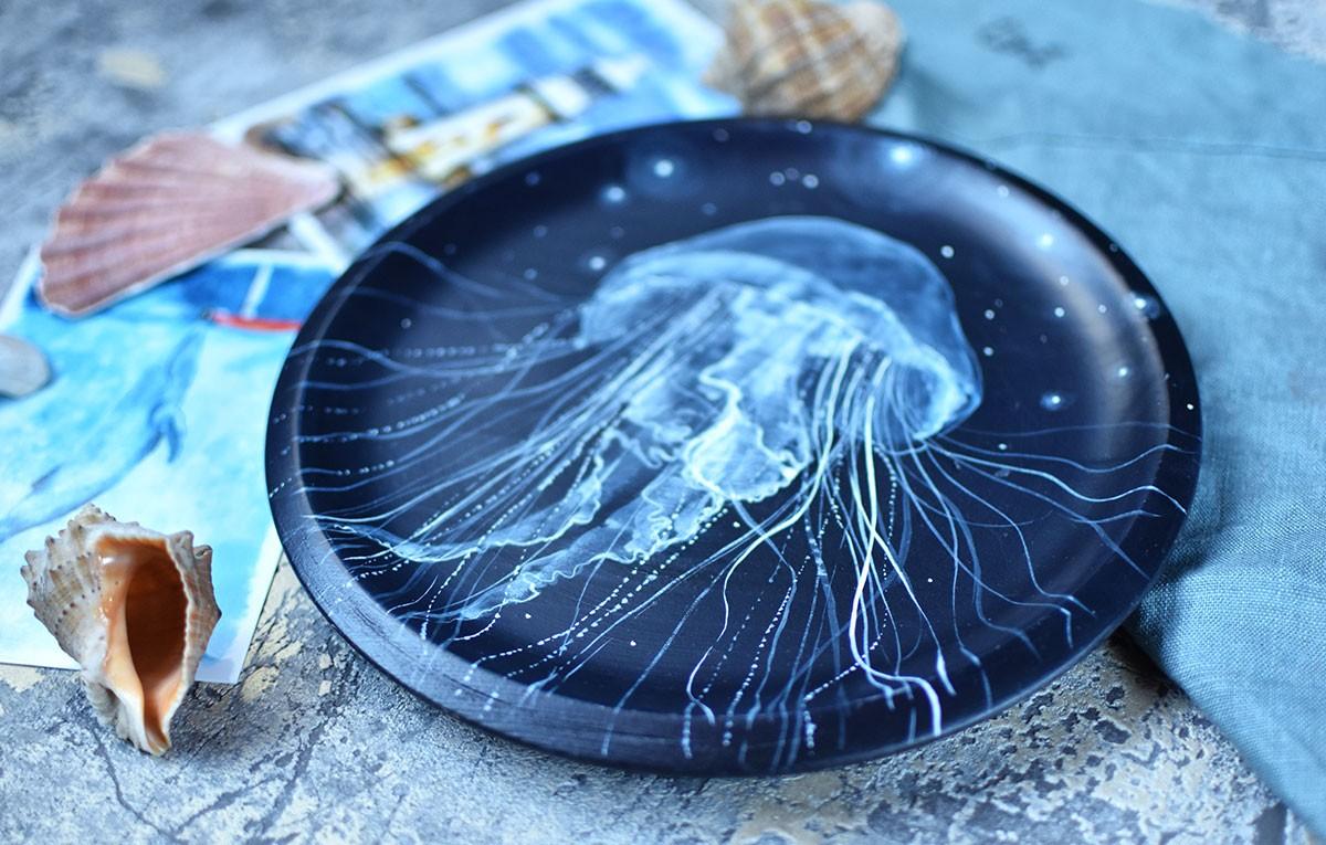 "картинка Деревянная тарелка ""Медуза"" - DishWishes.Ru"