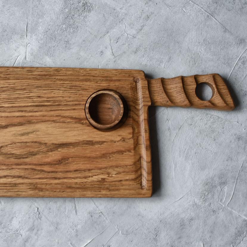 картинка Большая сервировочная доска для стейка с соусником - DishWishes.Ru
