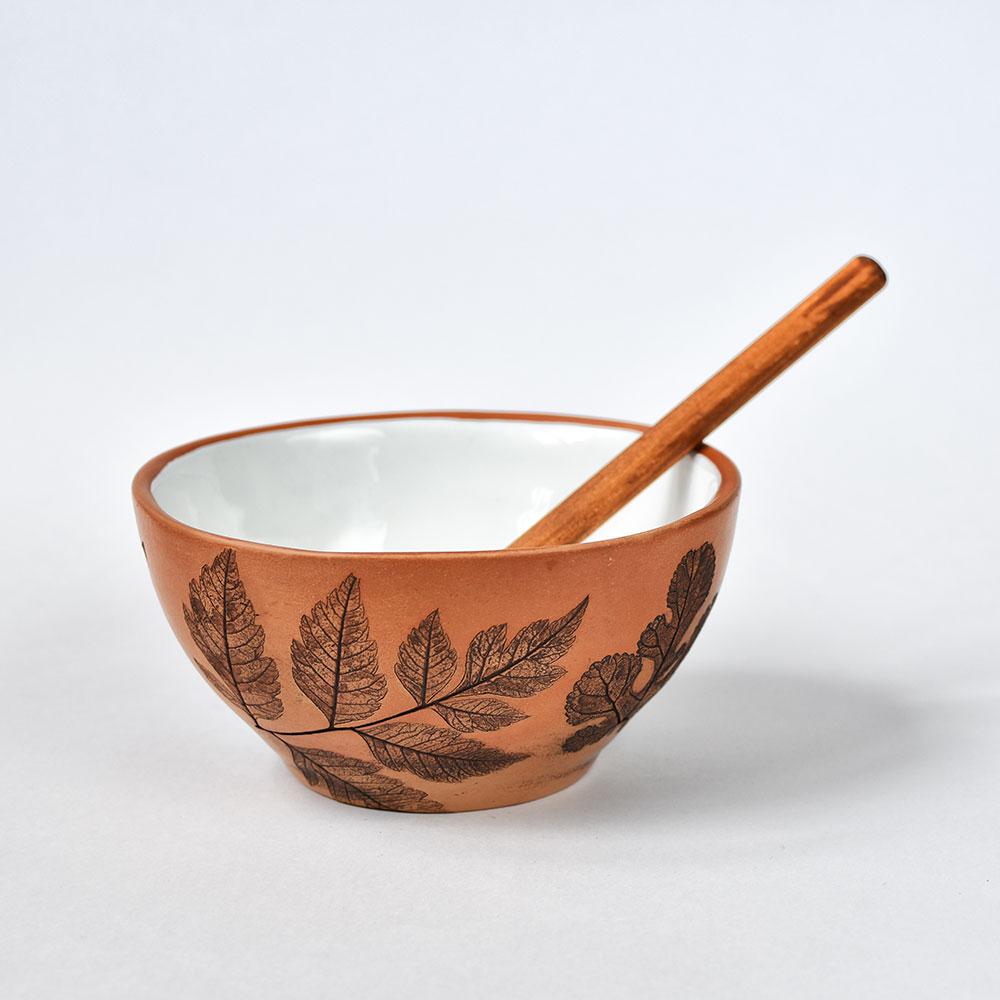 """картинка Молоченый салатник """"Листья"""" с глазурью - DishWishes.Ru"""