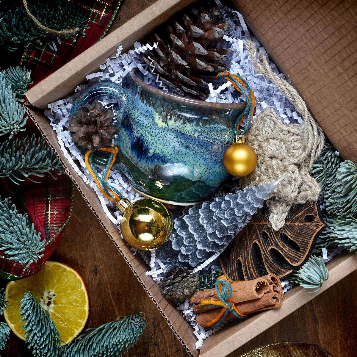 картинка Подарочный набор Новогодний темно-зеленый - DishWishes.Ru