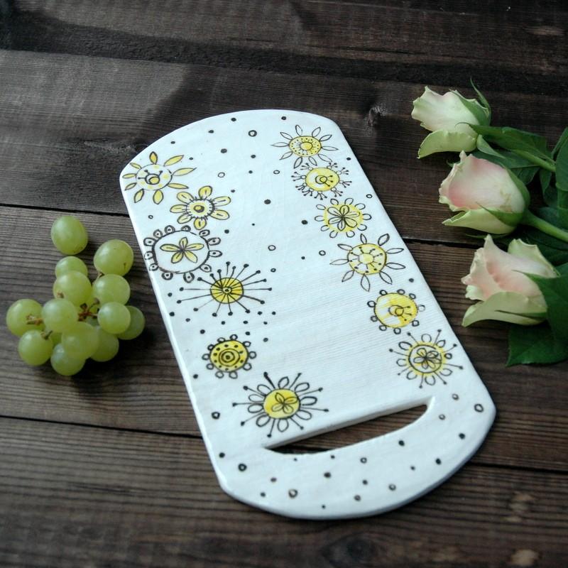 "картинка Досочка для сыра ""Желтые цветы"" - DishWishes.Ru"