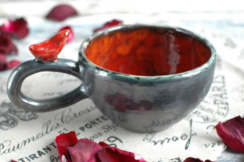 """картинка Чашка с птичкой """"Огонь"""" - DishWishes.Ru"""