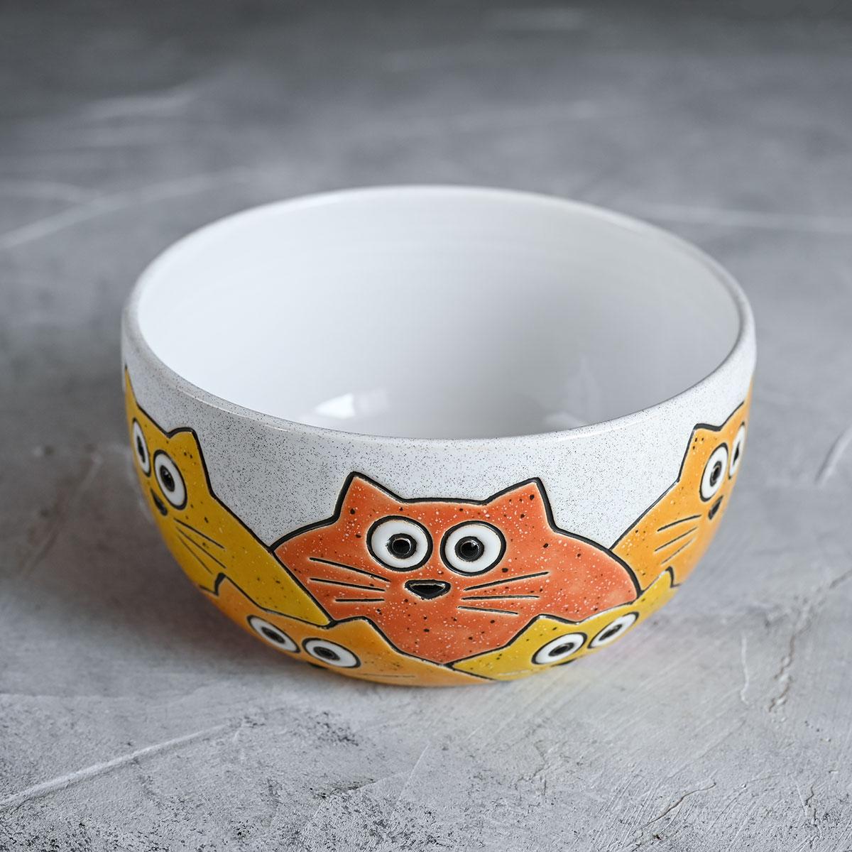 """картинка Миска """"Котики"""" бело-оранжевая - DishWishes.Ru"""