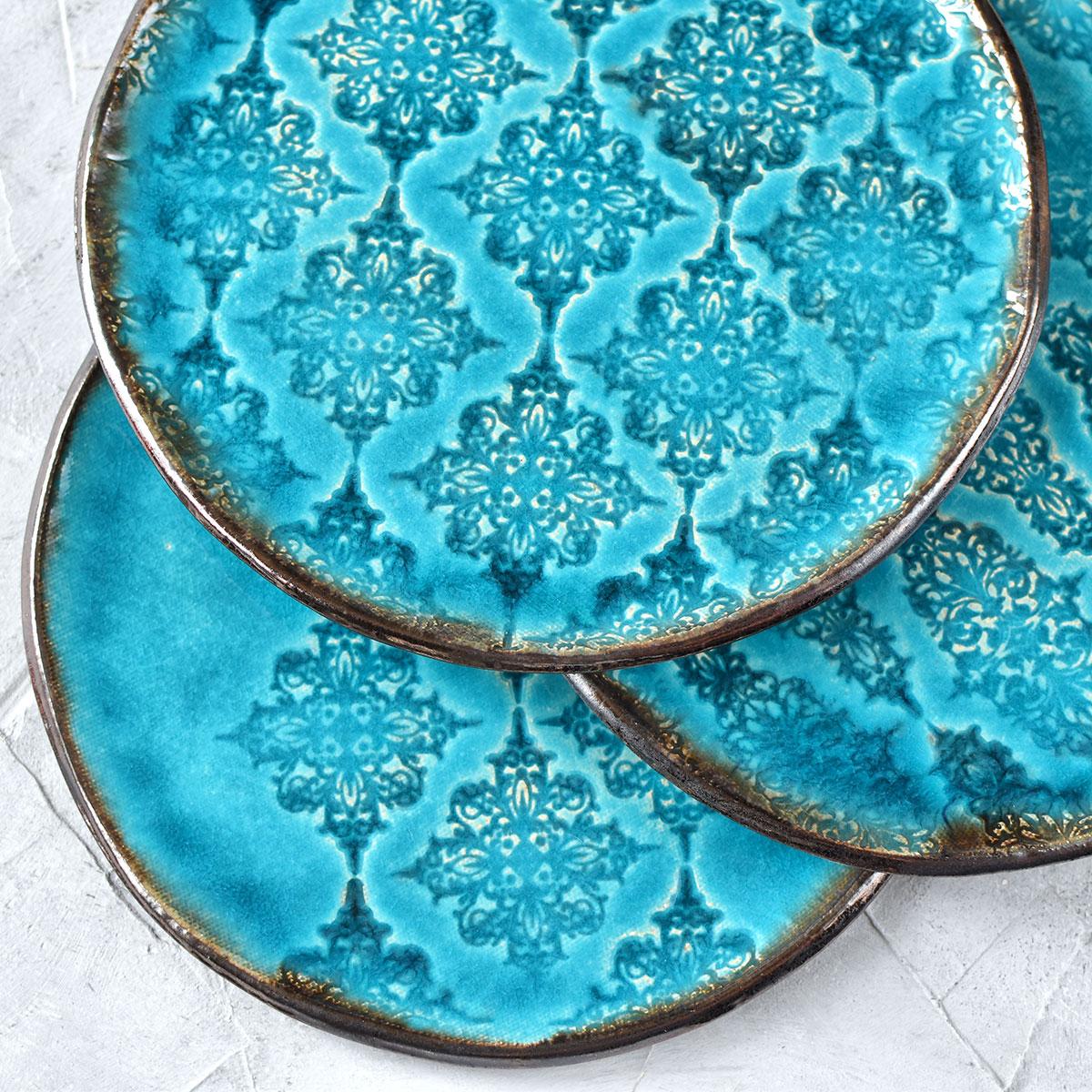 картинка Бирюзовая тарелка с узорами 1 - DishWishes.Ru